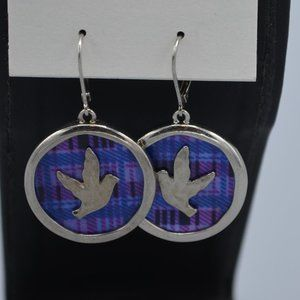 NWT Dove Bird Blue Plaid Pierced Earrings